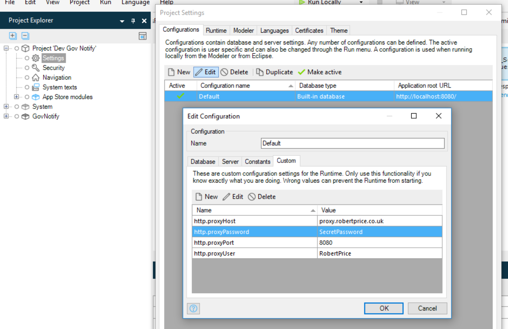 Using a proxy server from the Mendix Modeller - Robert Price