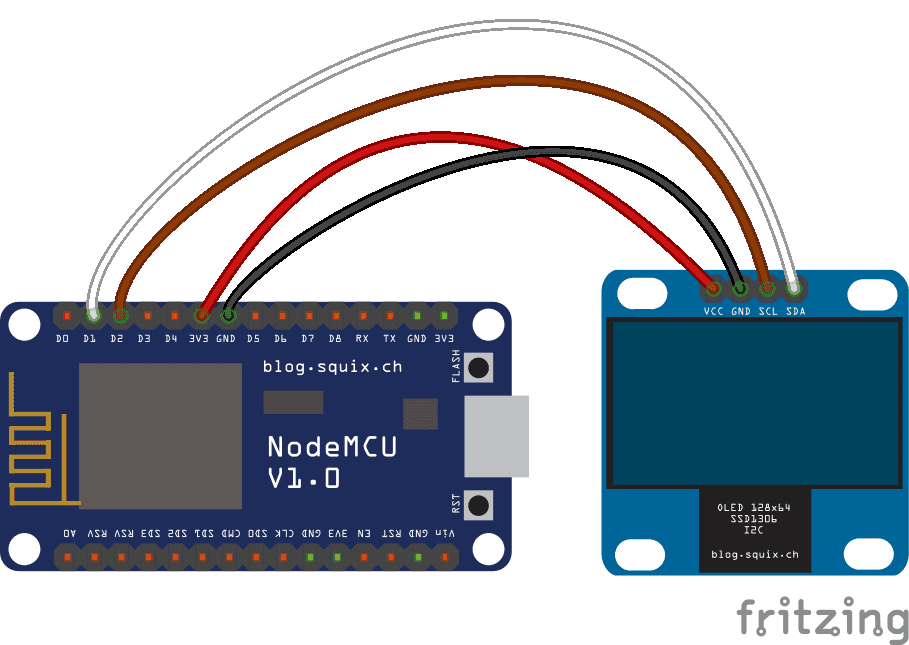 Wiring an i2c OLED display to a NodeMCU