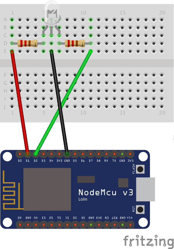 Linking a bicolour LED to a NodeMCU